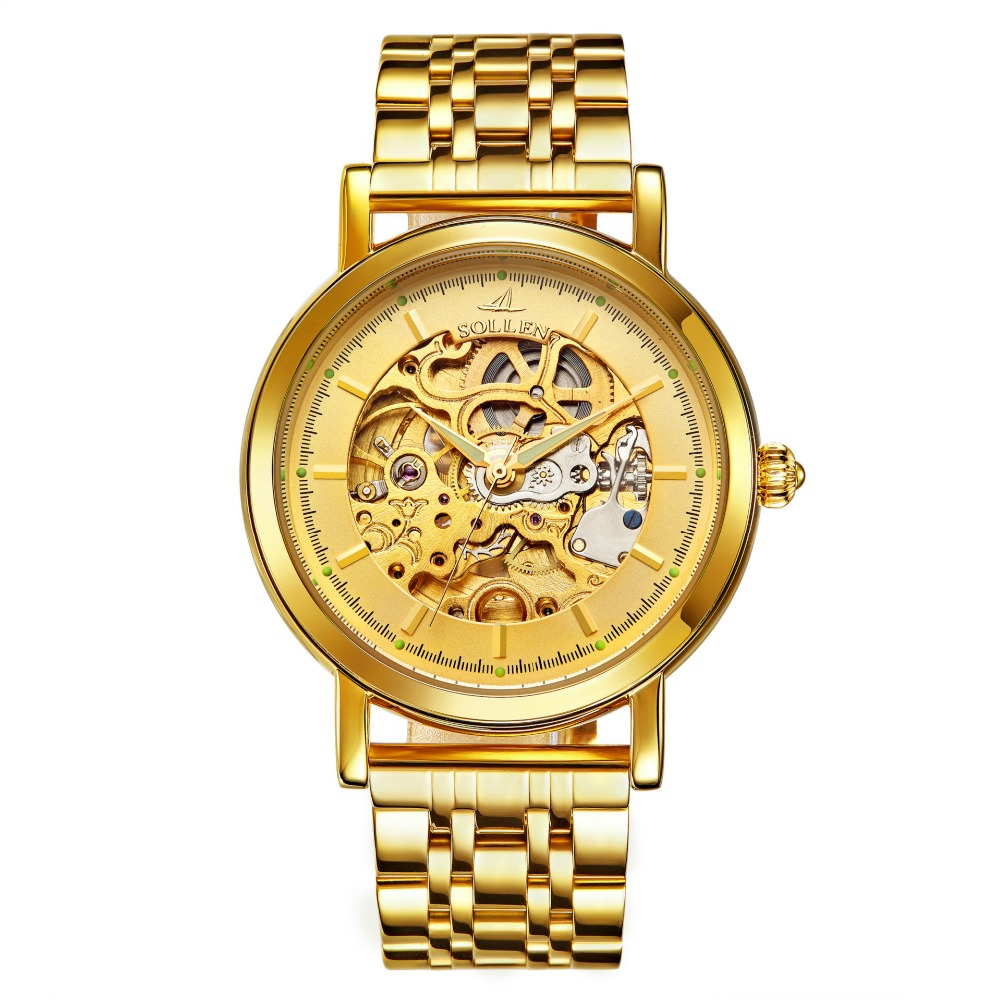 все цены на SOLLEN Business Sports Watches Men Skeleton Gold Watch Automatic Mechanical Men Watches Waterproof Leather Clock Stainless Steel онлайн