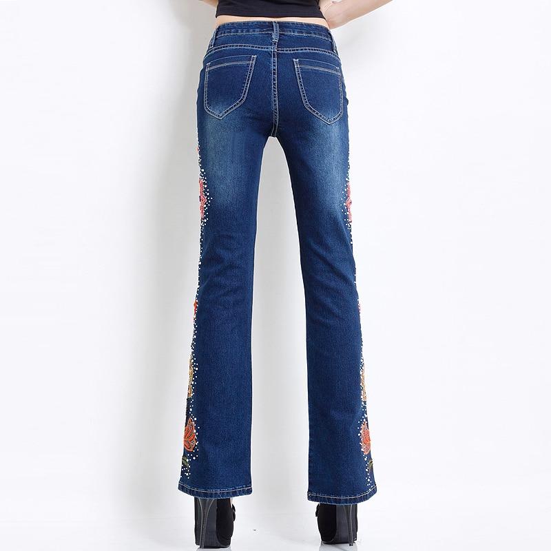 Mulheres Bordado Frisado Calça Jeans Strass Fundo Sino Queimado Calças  Elasticidade Luxo Senhoras Sexy Calça Jeans de Cintura Alta Empurrar Para  Cima do ... e779b97039