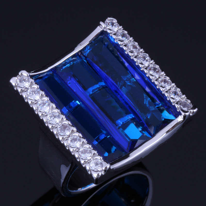 Glamorous Rectangle Blue Cubic Zirconia White CZ 925 Sterling Silver Ring For Women V1065