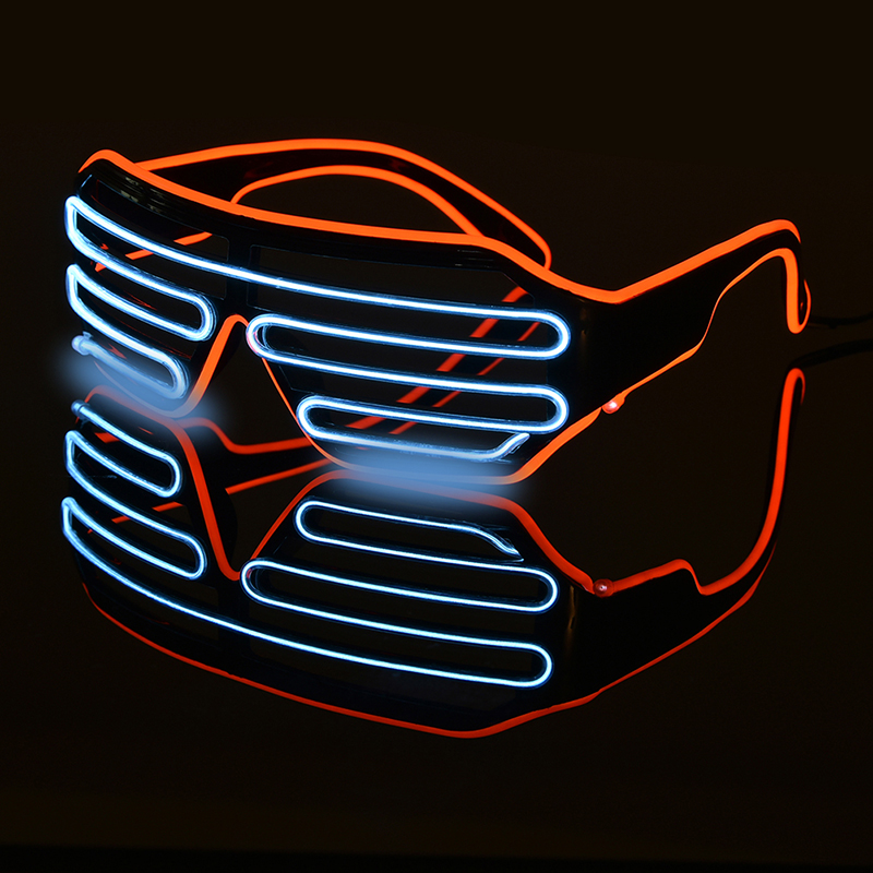 Double-colored Flashing Eyeglass Party Wire LED Light Glasses Halloween Fluorescent Luminous Glowing Glasses Party Decorations