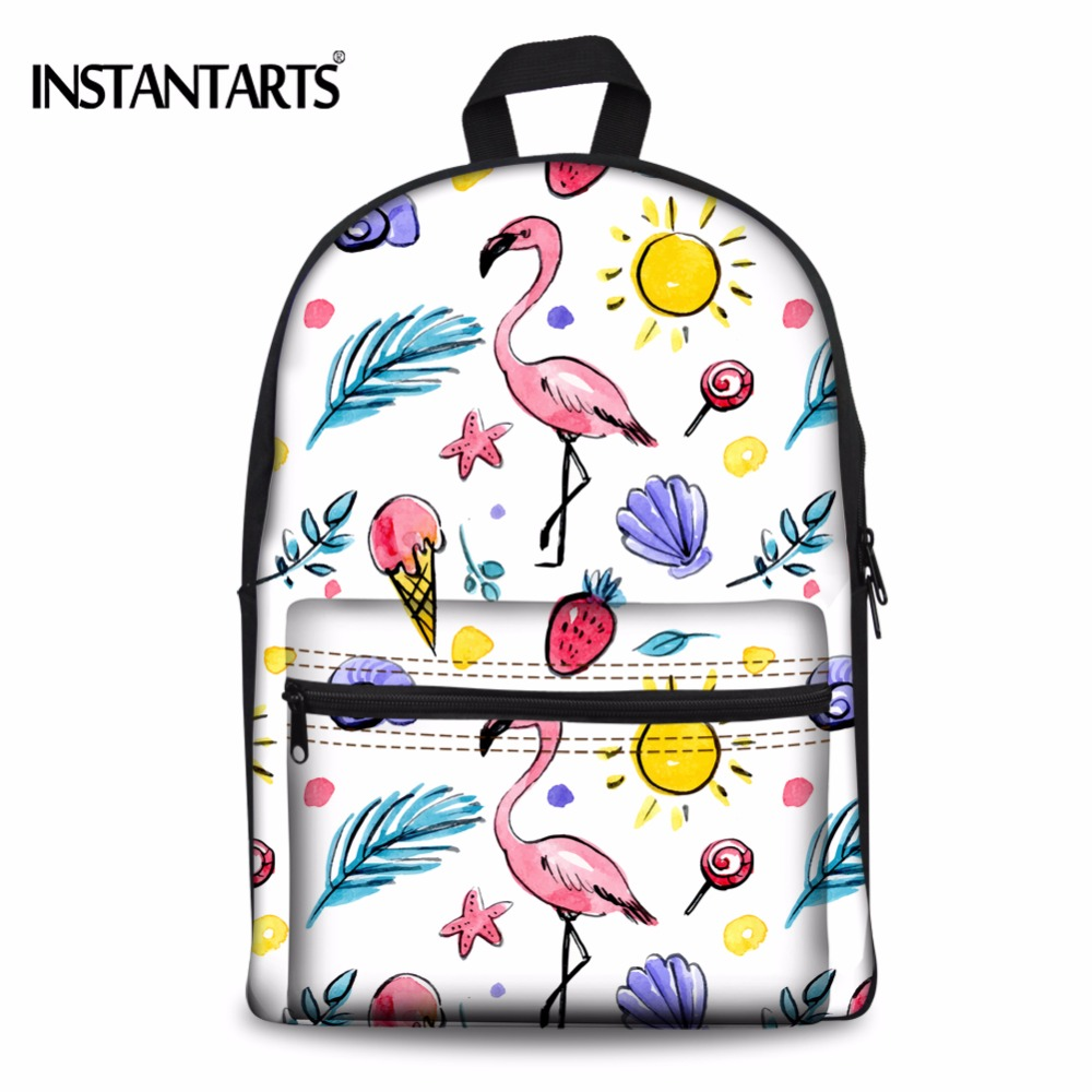 INSTANTARTS Flamingo Cartoon Printing Travel Backpacks Women Laptop Female Shoulder Bag Fashion Canvas Daypacks for Teens
