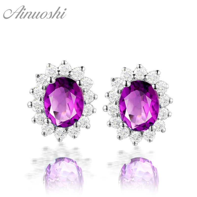 AINUOSHI Natural Amethyst Snowflake Earring 4ct Oval Cut Gems Engagement Party Women Jewelry 925 Sterling Silver