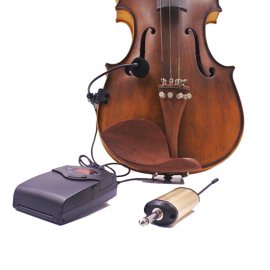 4/4 viool fiddle draadloze microfoon systeem UHF bodypack zender oplaadbare ontvanger draagbare instrument pickup radio mic-in Microfoons van Consumentenelektronica op  Groep 1