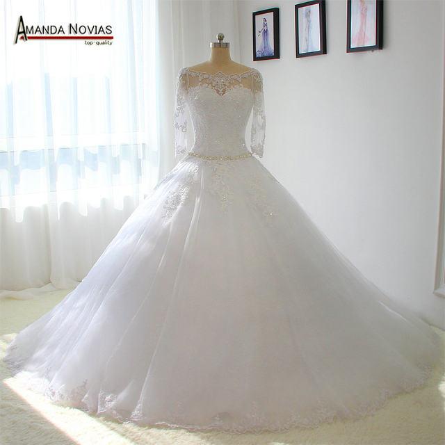 Online Shop Three Quarter Sleeves Wedding Dress Real Photos Dropped ...