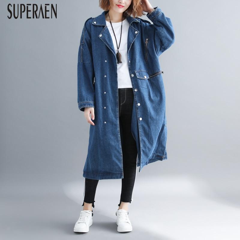 SuperAen Korean Style Denin   Trench   Coat for Women Pluz Size Autumn and Spring New 2019 Ladies Windbreaker Casual Wild Coats