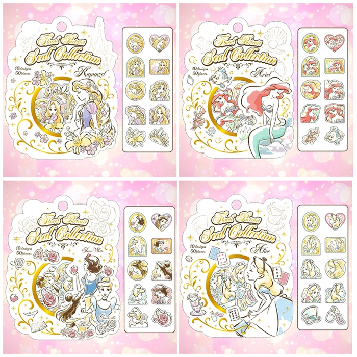 50pcs/1pack Stationery Stickers Kawaii Gold Alice Princess Diary Planner Decorative Mobile Stickers Scrapbooking Craft Stickers