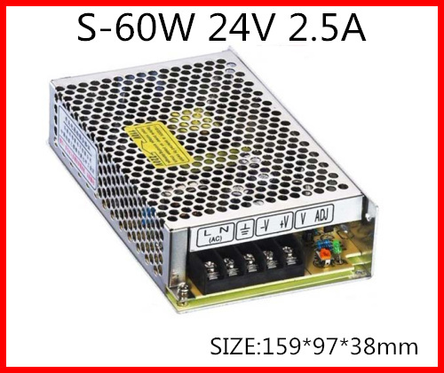 2.5A 1PC NEW MW Switching power supply S-60-24  24V