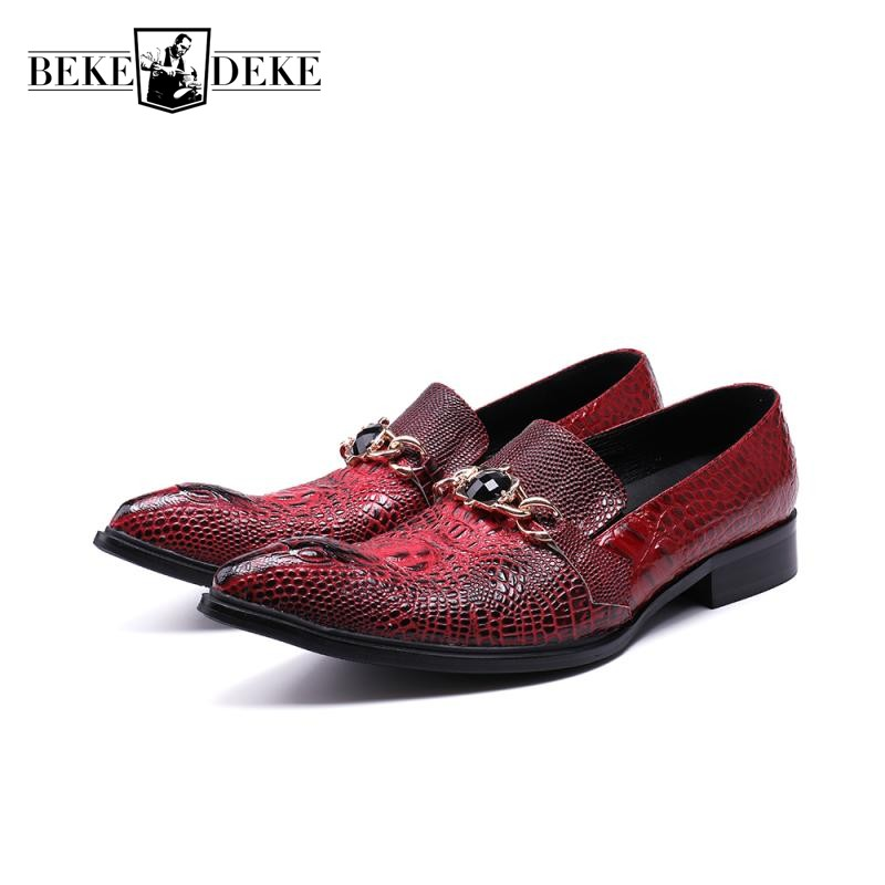 Fashion Crystal Red Wedding Dress Shoes Men Slip On Pointed Toe Business Man Formal Footwear Luxury Genuine Leather Party Shoes цена 2017