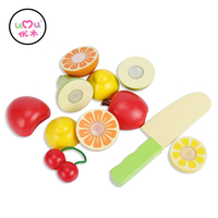 [Umu] Wooden Cut Fruit Block Toy Set Kid Kitchen Vegetables Fruits Toys For Children Baby Food Toys For Girls 12 pcs/Set