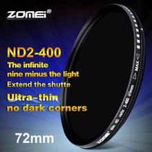 Zomei 72mm Fader ND Variável Filtro ND2 para ND400 Ajustável hoya nd2-400 filtro de densidade neutra para canon nikon sony lente da câmera 72mm