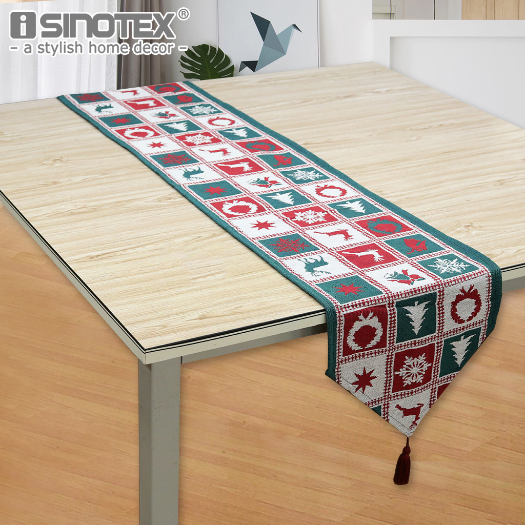 1PCS Christmas Santa Claus Printed Xmas Gift Pattern Table Runner Cover Cotton Polyester Patchwork Style Home Table Cloth Decor