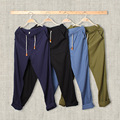 Summer Men Casual Pants Solid Color Mens Cotton Linen Straight Trouser Plus Size M-5XL