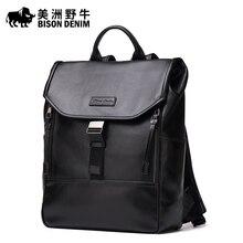 Brand BISON DENIM Top Genuine Leather School Bags For Teenagers Backpack Men Travel Casual Cowhide Laptop
