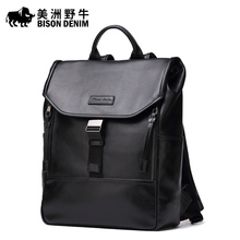 Brand BISON DENIM Top Genuine Leather School Bags For Teenagers Backpack Men Travel Casual Cowhide Laptop Backpack Free Shipping