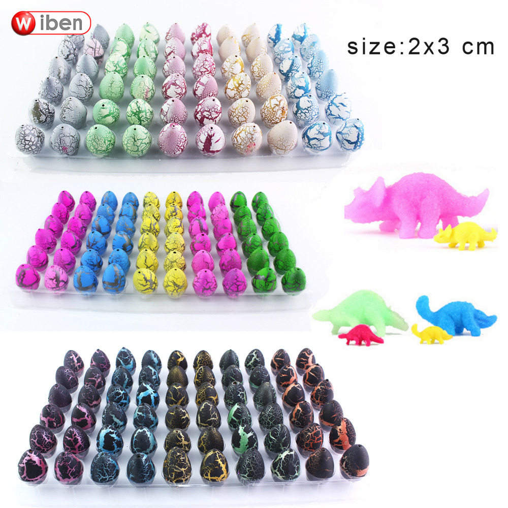 Wiben 60pcs/lot Novelty Gag Toys Children Toys Cute Magic Hatching Growing Dinosaur Eggs For Kids Educational Toys Gifts