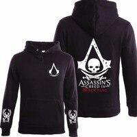 Cotton Autumn Winter Assasins Creed Hoodie Men Black Cosplay Sweatshirt Costume Fleece Lined Assassins Creed Mens Hoodies Jacket