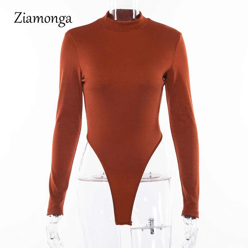 Ziamonga Пикантные черный, белый цвет кофе с длинным рукавом комбинезон с высоким воротом для женщин одноцветное тонкий боди Женская мода комбинезон