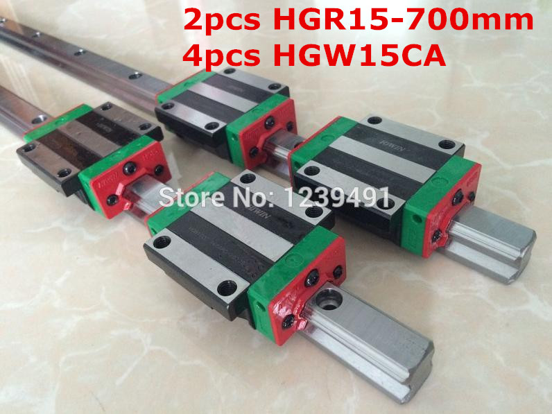 2pcs original hiwin linear rail HGR15- 700mm with 4pcs HGW15CA flange block cnc parts