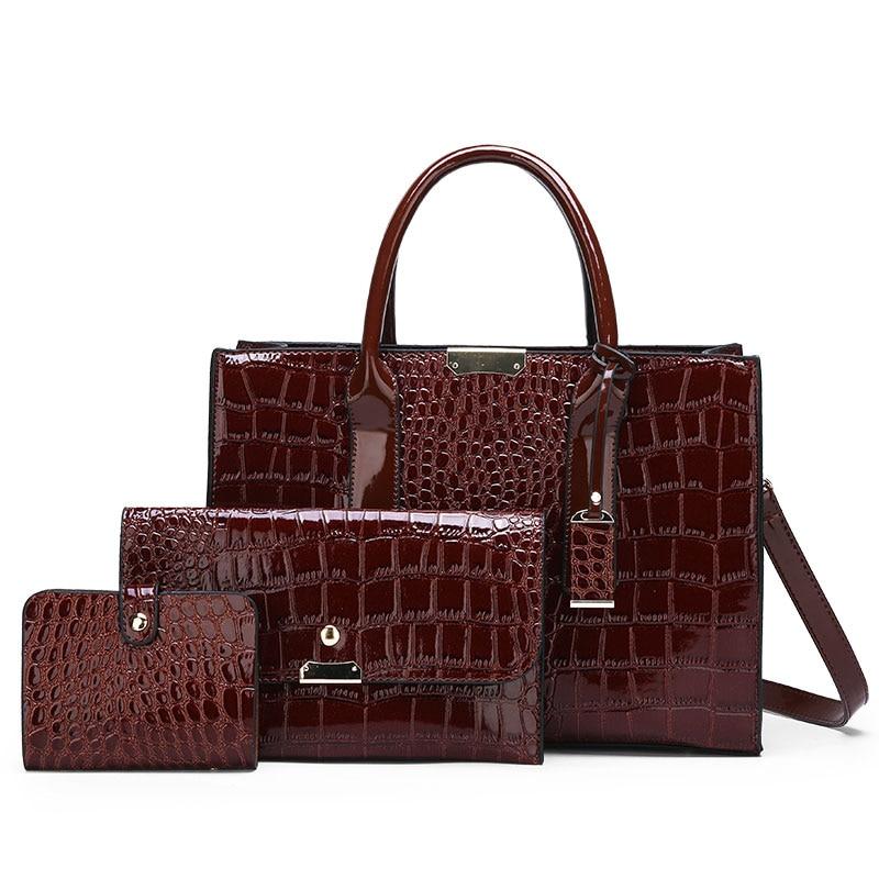 2019 Luxury Patent Leather Handbags 3PCS Lacquered Shoulder Crossbody Bag Women Casual Tote Messenger Bags Set Clutch Feminina