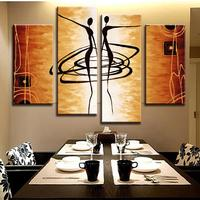 Brand New Oil Painting Abstract Figures Golden 4 Piece Combined Canvas Paints