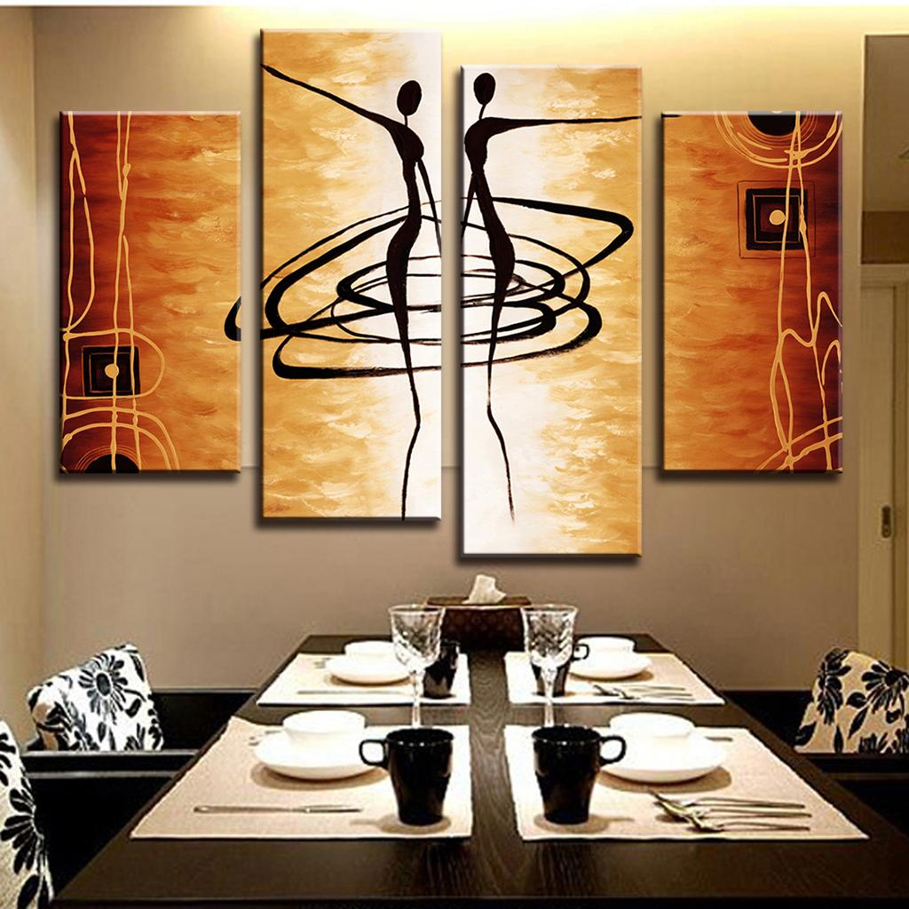 Hot 4 Pcs Set Modern Abstract Figures Painting Printed on Canvas Dance Lover Figures Golden Wall