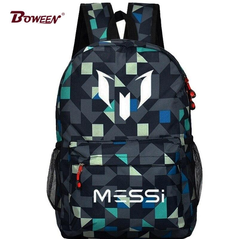 Teen Boy Messi Backpack SchoolBag for Teenager canvas Rucksack Kids Back pack Men Black Gift Mochila Bolsas Bagpack hockey sock