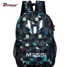 Teen Boy Messi Backpack SchoolBag for Teenager canvas Rucksack Kids Back pack Men Black Gift Mochila Bolsas Bagpack