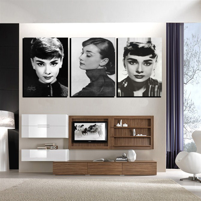 Modern Art <font><b>Home</b></font> <font><b>Decoration</b></font> Printed Oil Painting Pictures No Frame 3 Panel Wall Pictures for Living Room <font><b>Elegant</b></font> Audrey Hepburn