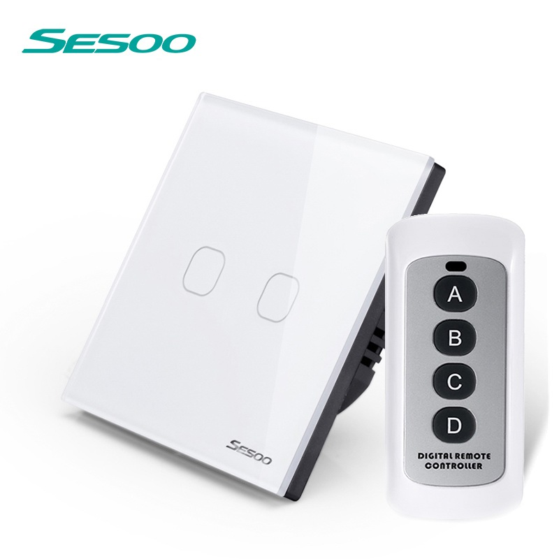 EU/UK Standard SESOO Remote Control Switch 2 Gang 1 Way,Crystal Glass Switch Panel,Remote Wall Touch Switch+LED Indicator funry eu uk standard 1 gang 1 way led light wall switch crystal glass panel touch switch wireless remote control light switches