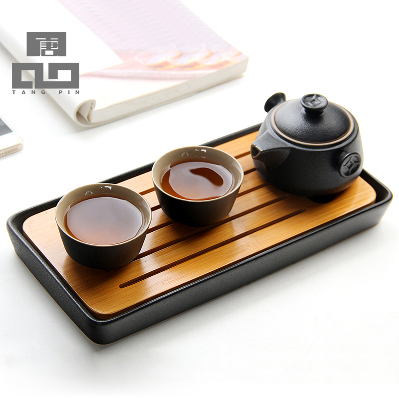 Japanese style Bamboo tray bamboo kung Fu Tea Tray tea accessories ceramic tea table freeshipping