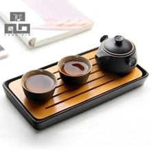 Japanischen stil Bambus bambus-tablett kung Fu Tee Tablett tee zubehör keramik tee tisch freeshipping