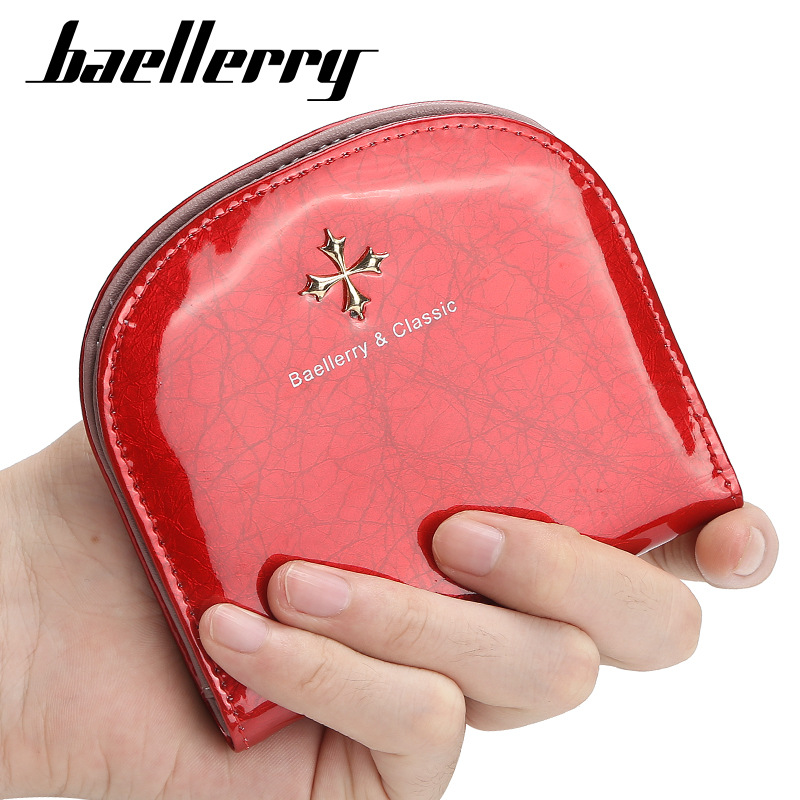 Fashion Mini Wallet Women Bright Leather Wallets Female Hasp Zipper Design Coin Purse ID Card Holder Slim Wallet Lady Coin Bag(China)