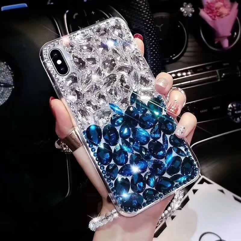 blue rhinestone coque iphone 6