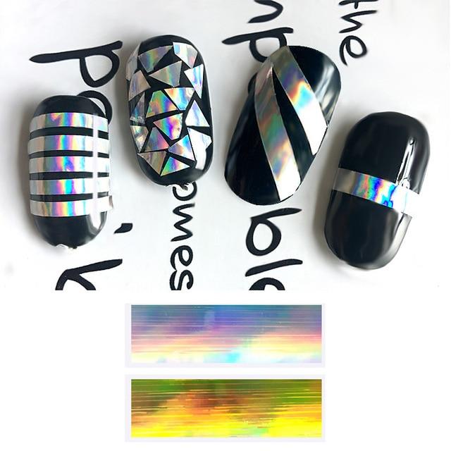 2 Sheet Holografische Strip Tape Nail Art Stickers Ultra Dunne Laser