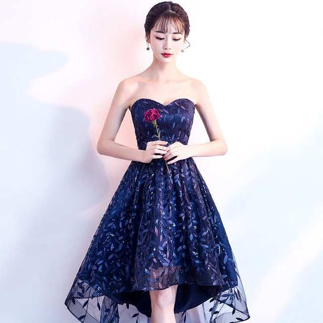 b28406b774976 It's YiiYa New Strapless Sleeveless Cocktail Dress Fashion Navy Blue ...