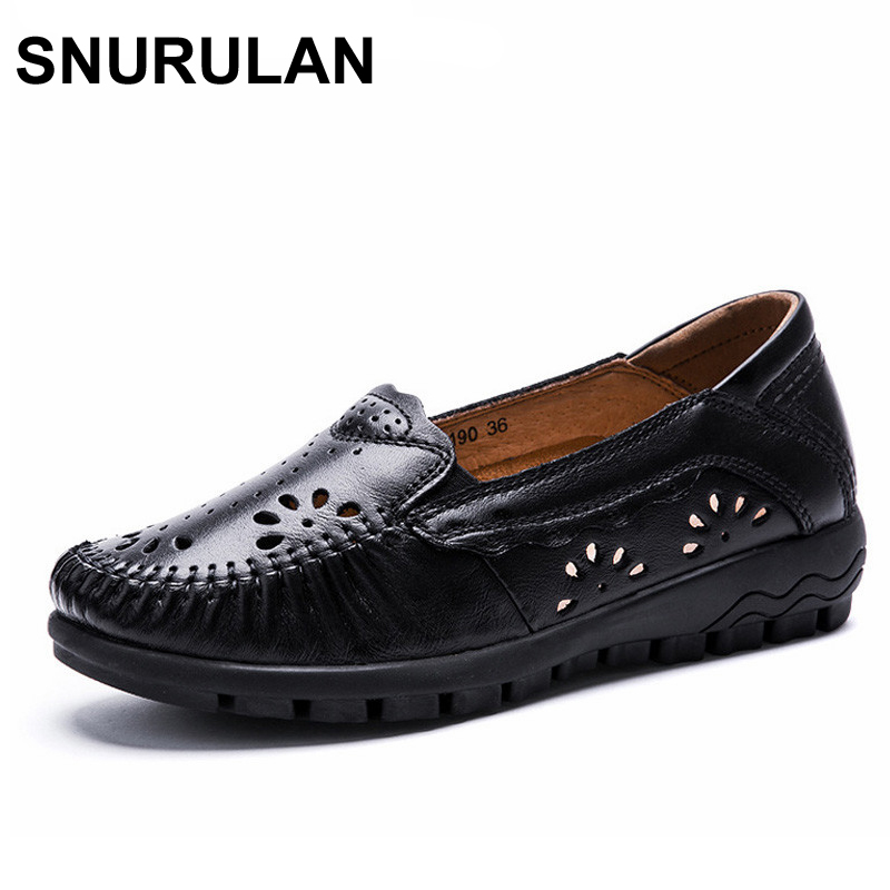 SNURULAN New Summer Women's Casual Shoes Real Leather Woman Flats Handmade Female Loafers Mother Boat Shoe Breathable Single new fashion summer spring men driving shoe loafers real leather boat shoes breathable male casual flats loafers men casual shoes