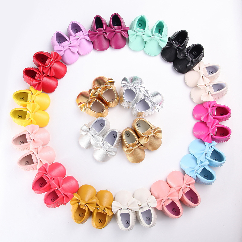 Spring and autumn new 0-1 year old boy and girl baby shoes tassel PU bottom anti-skid leisure baby childrens toddler shoes