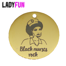 Ladyfun 2019 Customizable Black Nurses Rock Pendant Charm Round Disc 25mm Girl Afro Nurse Gifts Charms For Jewelry Making
