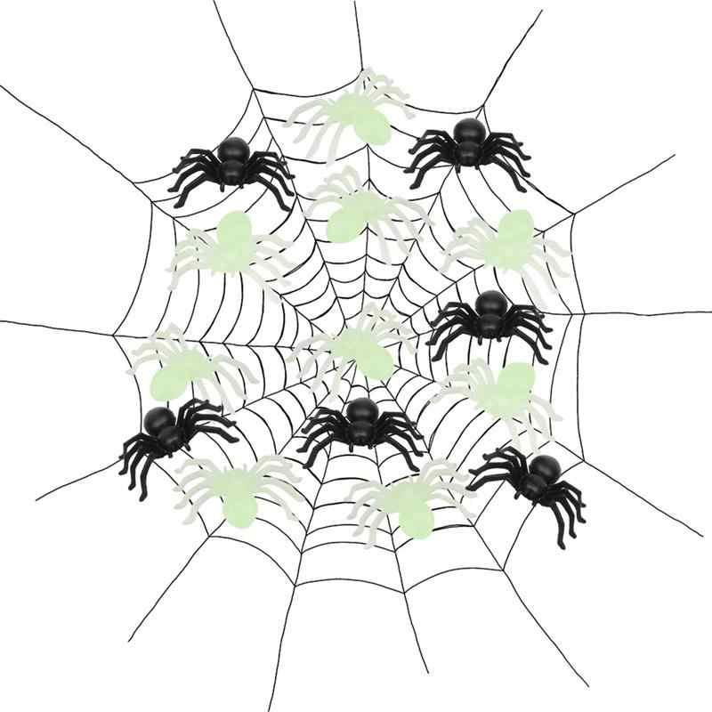 40 יח'\סט ליל כל הקדושים דקורטיבי זוהר עכבישים קטן שחור פלסטיק מזויף עכביש צעצועי חידוש מצחיק בדיחה Prank מציאותי אבזרי