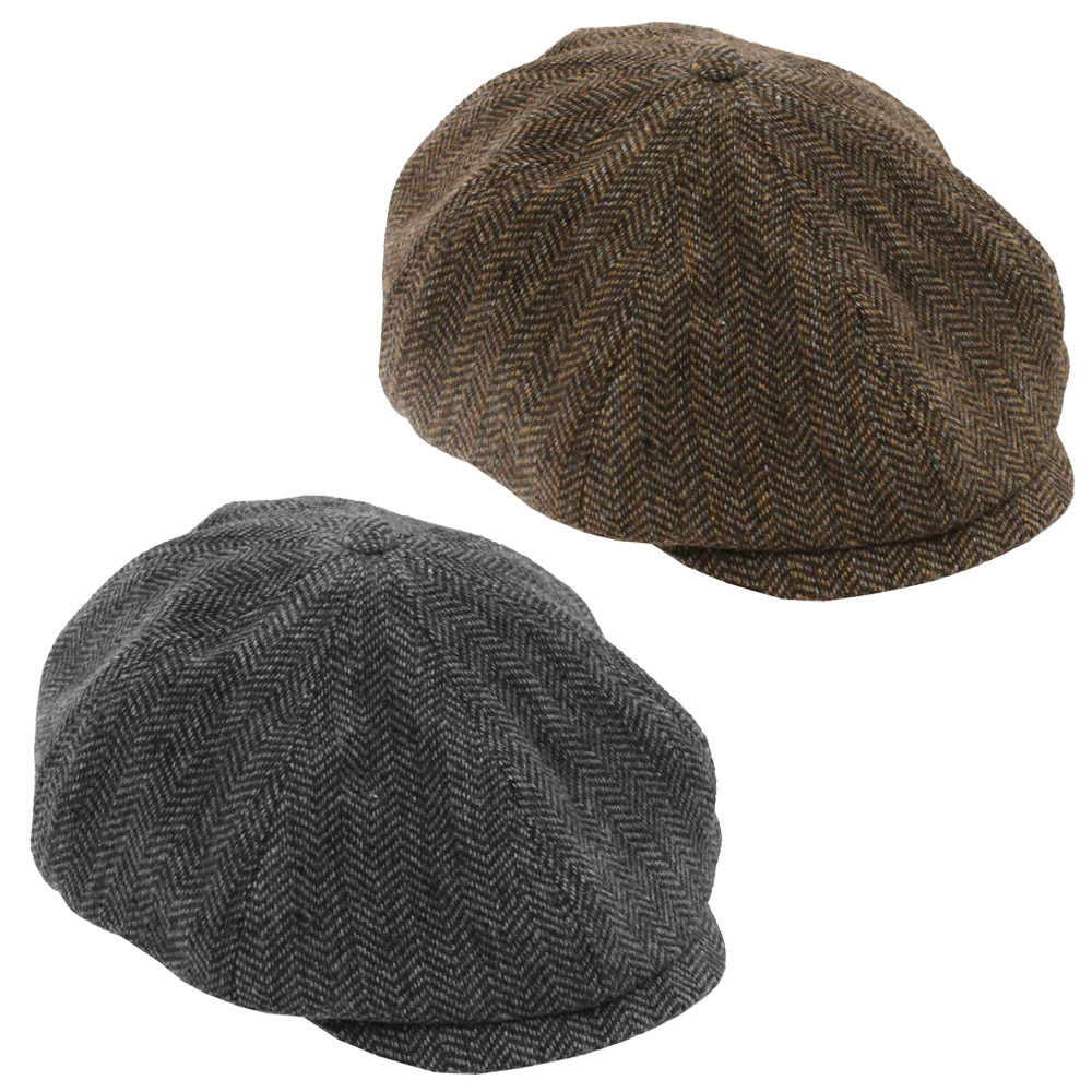 ADULTS BROWN OR BLACK FLAT CAP HERRINGBONE BAKER BOY HAT PEAKY BLINDERS THOMAS SHELBY NEWSPAPER BOY SHELBY FANCY DRESS COSTUME