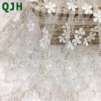 QJH Brand New African 3d Fower Pattern Lace Fabric French Tulle Lace For Woman Party Dress
