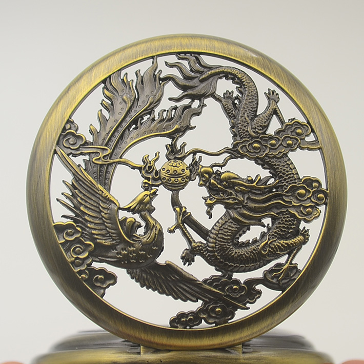 Mechanical Hand Wind Pocket Watch Necklace Vintage Chinese Flying Dragon Phoenix Pendant Bronze Tone Cable Chain Gift Watches chinese palace pure bronze copper auspicious dragon phoenix pot bottle vase pair