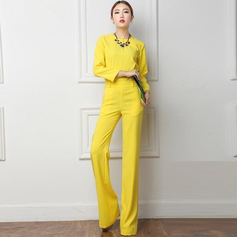 Large Size 3XL Summer Jumpsuits 2018 One Piece Pants Lapel Elegant Salopette Yellow Long Trousers Women Jumpsuits