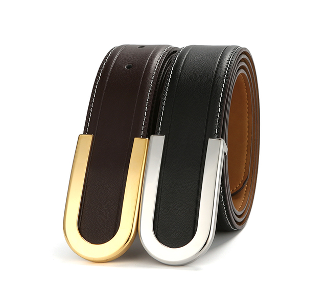 High Grade Stainless Steel Buckle For Man's Genuine Leather Belt Fashionable Designs Best Brithday Gift For Man Male Waist Band