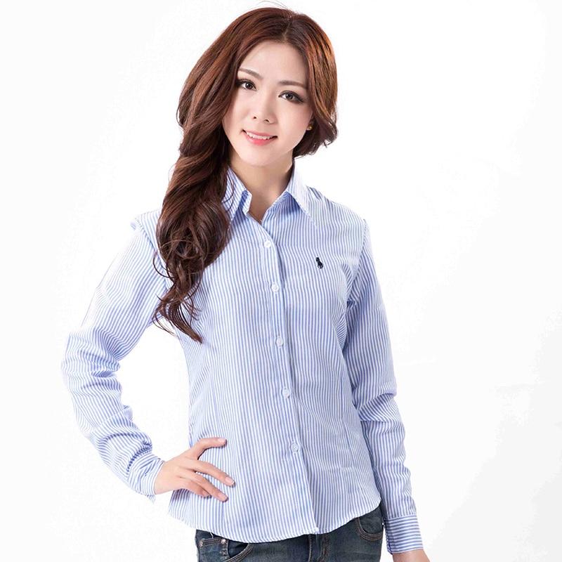 Buy classical women polo striped shirt for Women s long sleeve polo shirts sale