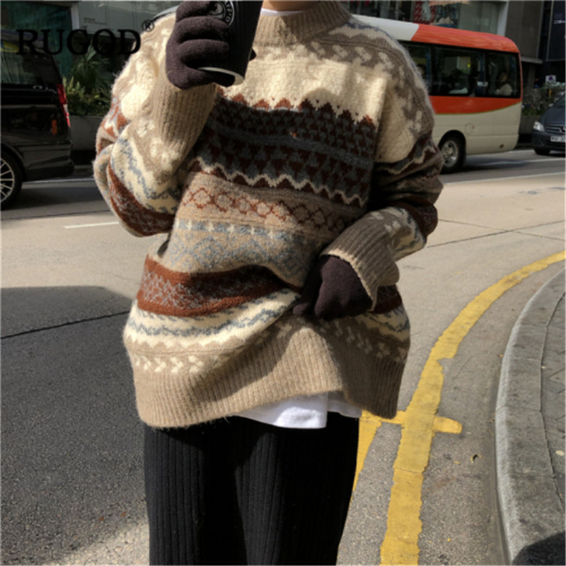 RUGOD Vintage Knitted Women Sweater 2019 Korean Casual Stripe Long Sleeve Pullover Sweaters Office Lady Loose Stripe Sweater