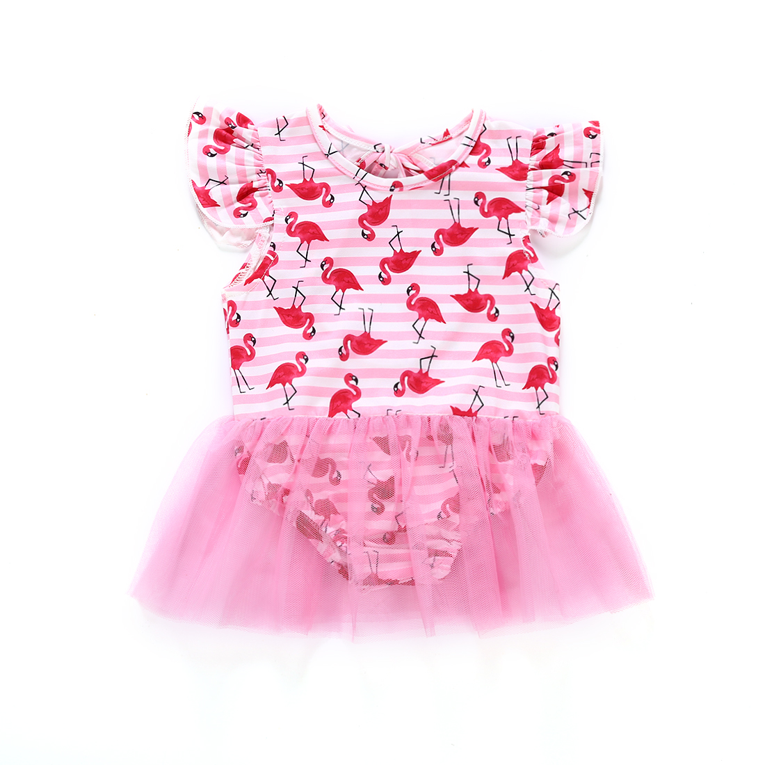 Cute Newborn Baby Girl Swimsuit Cartoon Red Birds Swimwear Bandage Bathing Suit Backless Tutu Beachwear Toddler Swimming Clothes