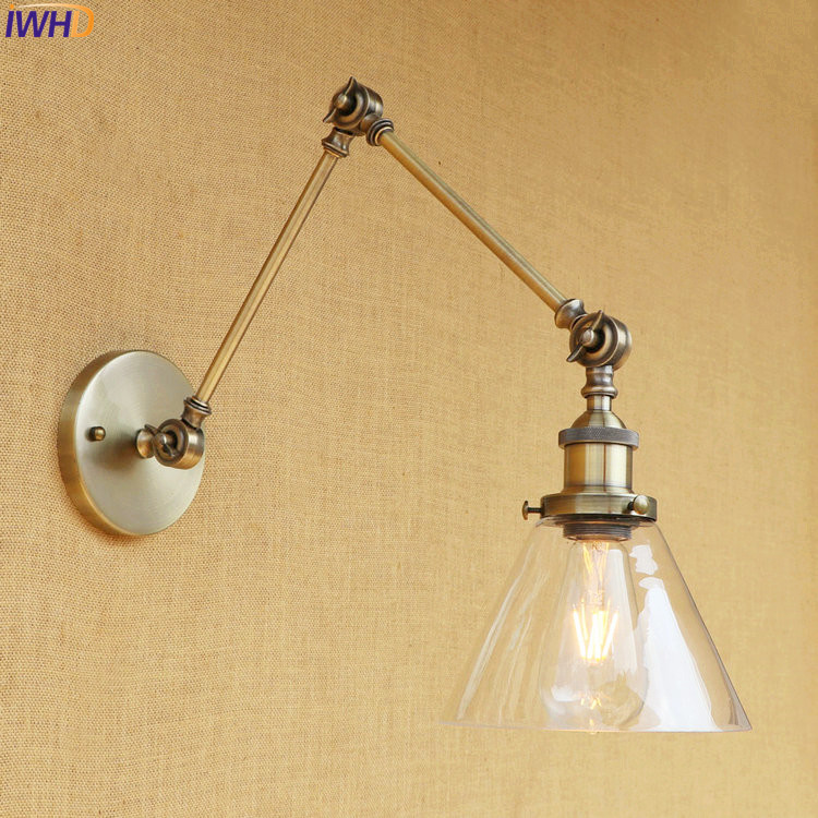 IWHD Retro Long Arm Wall Light Fixtures Glass Shade Home Lighting Loft Industrial Industiral Wall Lamp Sconce LED Edison Stair brass glass wall lights led vintage edison american home stair lighting living room adjustable arm industrial wall lamp sconce
