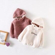 Winter Warm T shirt for Girls Sweatshirt Hooded Hoodies Pullover Plus Velvet Fleece Thicken Letter Hoodie