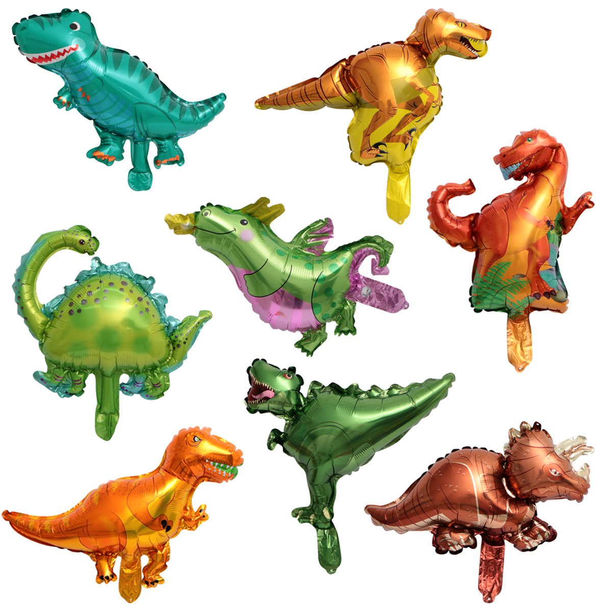 3pcs Mini Size Cartoon Dinosaur Foil Balloons Animal Helium Balloon Children Toy Boys Favor Kids Birthday Party Decoration Gift figurine